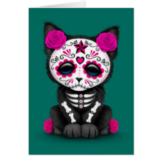 Cute Pink Day of the Dead Kitten Cat, teal blue Card