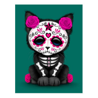 Cute Pink Day of the Dead Kitten Cat, teal blue Postcard