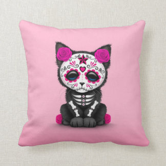 Cute Pink Day of the Dead Kitten Cat Throw Pillow