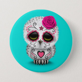 Cute Pink Day of the Dead Sugar Skull Owl Blue 7.5 Cm Round Badge