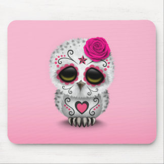Cute Pink Day of the Dead Sugar Skull Owl Mouse Pads