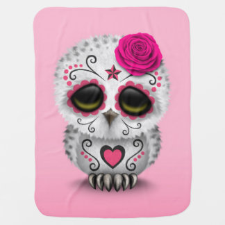 Cute Pink Day of the Dead Sugar Skull Owl Receiving Blankets