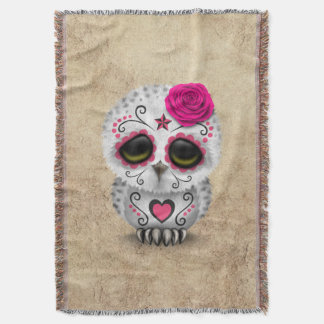 Cute Pink Day of the Dead Sugar Skull Owl Rough Throw Blanket