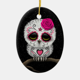 Cute Pink Day of the Dead Sugar Skull Owl Stars Christmas Ornament