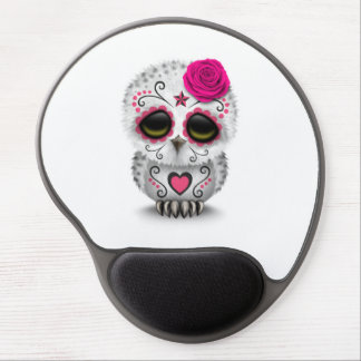 Cute Pink Day of the Dead Sugar Skull Owl White Gel Mouse Pads