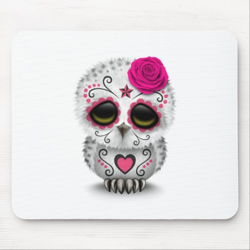 Cute Pink Day of the Dead Sugar Skull Owl White Mouse Pad