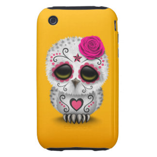 Cute Pink Day of the Dead Sugar Skull Owl Yellow iPhone 3 Tough Cover