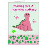 Cute Pink Dinosaur Cards