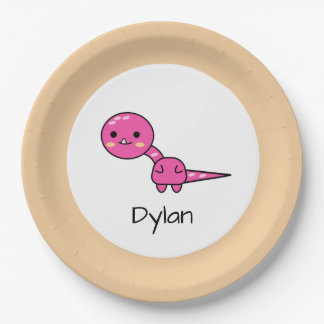 Cute Pink Dinosaur Cartoon Birthday Paper Plate
