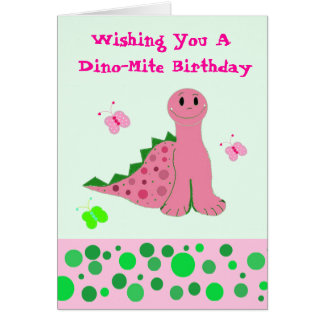 Cute Pink Dinosaur Greeting Card