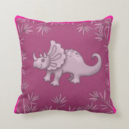 Cute Pink Dinosaur Pillow Triceratops For Kids