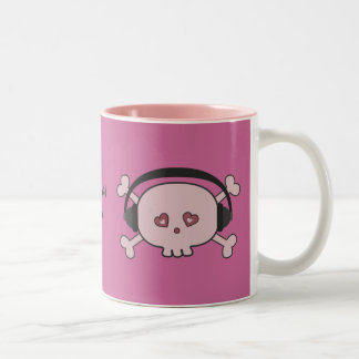 Cute Pink DJ Skulls With Headphones Personalized Two-Tone Coffee Mug
