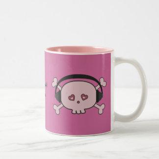 Cute Pink DJ Skulls With Headphones Personalized Two-Tone Mug