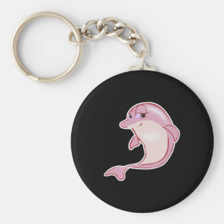 cute pink dolphin basic round button key ring