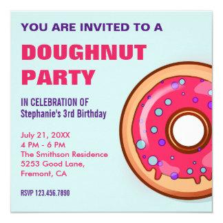 Cute Pink Donut | Doughnut Birthday Party Invite
