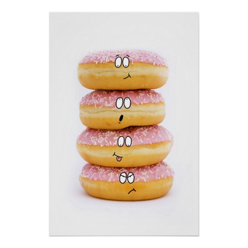 cute pink doughnut characters poster