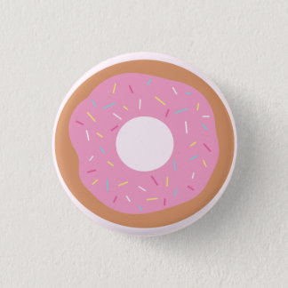 Cute Pink Doughnut with Sprinkles Button