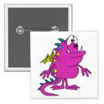 cute pink dragon monster creature buttons