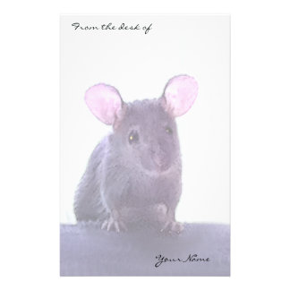 Cute Pink Eared Mouse Drawing Add Your Name Personalized Stationery