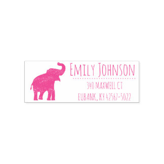 cute pink elephant address self-inking stamp