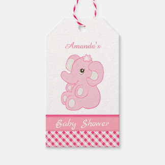 Cute pink elephant Baby girl Shower Gift Tags
