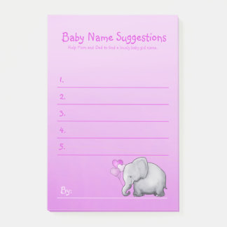 Cute Pink Elephant Baby Girl Shower Suggest Name Post-it Notes