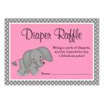 Cute Pink Elephant Baby Shower Diaper Raffle