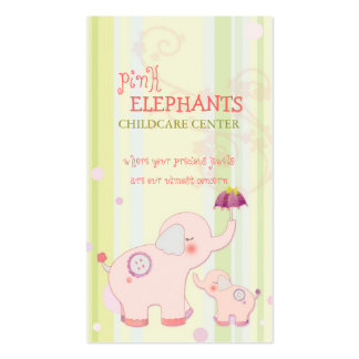 Cute Pink Elephant Childcare Daycare Baby Business Pack Of Standard Business Cards