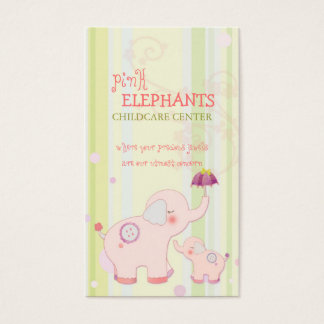 Cute Pink Elephant Childcare Daycare Business Card
