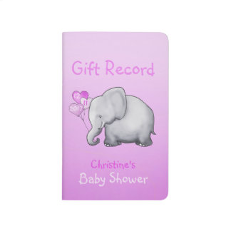 Cute Pink Elephant Girl Baby Shower Gift Record Journal