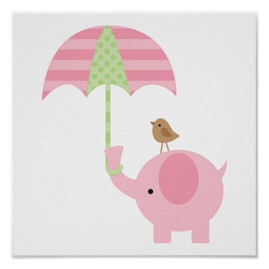 Cute Pink Elephant Girl Nursery Poster