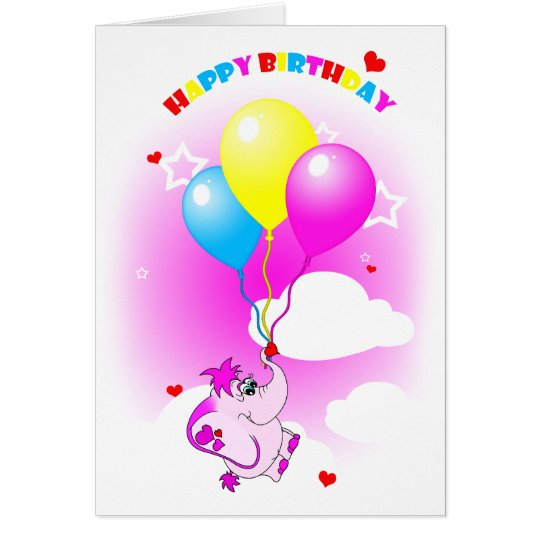 Cute Pink Elephant Happy Birthday Greeting Card