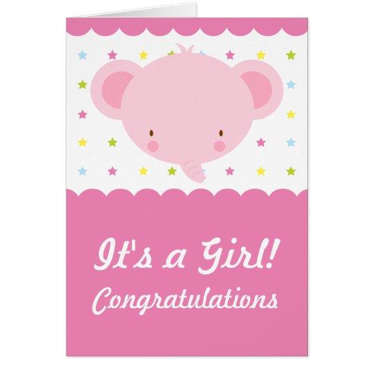 Cute Pink Elephant Its a Girl Congratulations Card