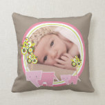 Cute Pink Elephants Forest Baby Girl Photo Pillow