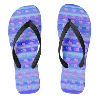 Cute Pink Elephants on Blue and Turquoise Stripes Flip Flops