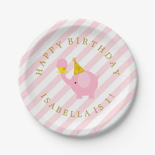Cute Pink Elephants Personalised Birthday Party Paper Plate