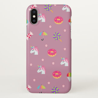 cute pink emoji unicorns candies flowers lollipops iPhone x case