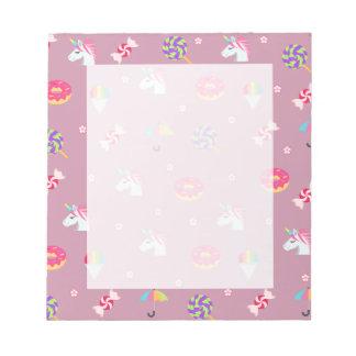 cute pink emoji unicorns candies flowers lollipops notepad