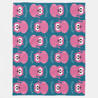 Cute Pink Fat Cat - Blue Background Fleece Blanket