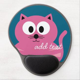 Cute Pink Fat Cat - Blue Background Gel Mouse Mat