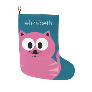 Cute Pink Fat Cat - Blue Background Large Christmas Stocking