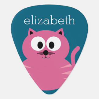 Cute Pink Fat Cat - Blue Background Plectrum