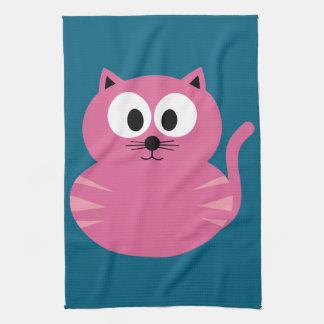 Cute Pink Fat Cat - Blue Background Tea Towel
