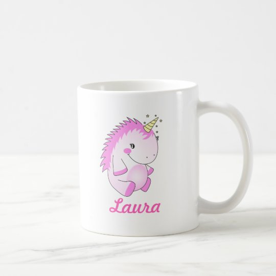 Cute Pink Fat Unicorn Name Mug