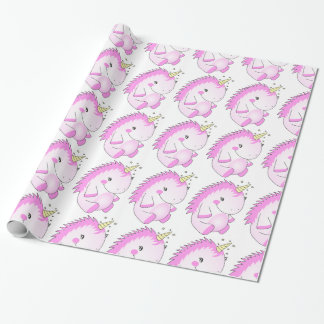 Cute Pink Fat Unicorn Wrapping Paper