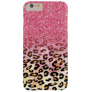 Cute pink faux glitter leopard animal print barely there iPhone 6 plus case