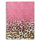 Cute pink faux glitter leopard animal print notebook