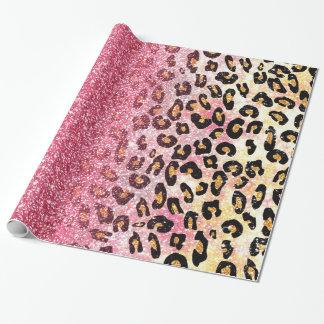 Cute pink faux glitter leopard animal print gift wrap paper