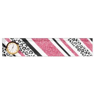 Cute pink faux glitter leopard print stripes nameplate