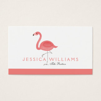 Cute Pink Flamingo 2 Illustration Business Card